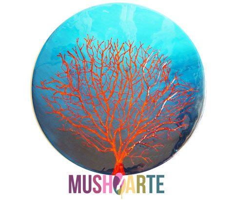 Cuadro con un Coral rojo pintado